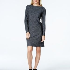 Eileen Fisher Cotton-Wool Bateau Neck Knit Shift